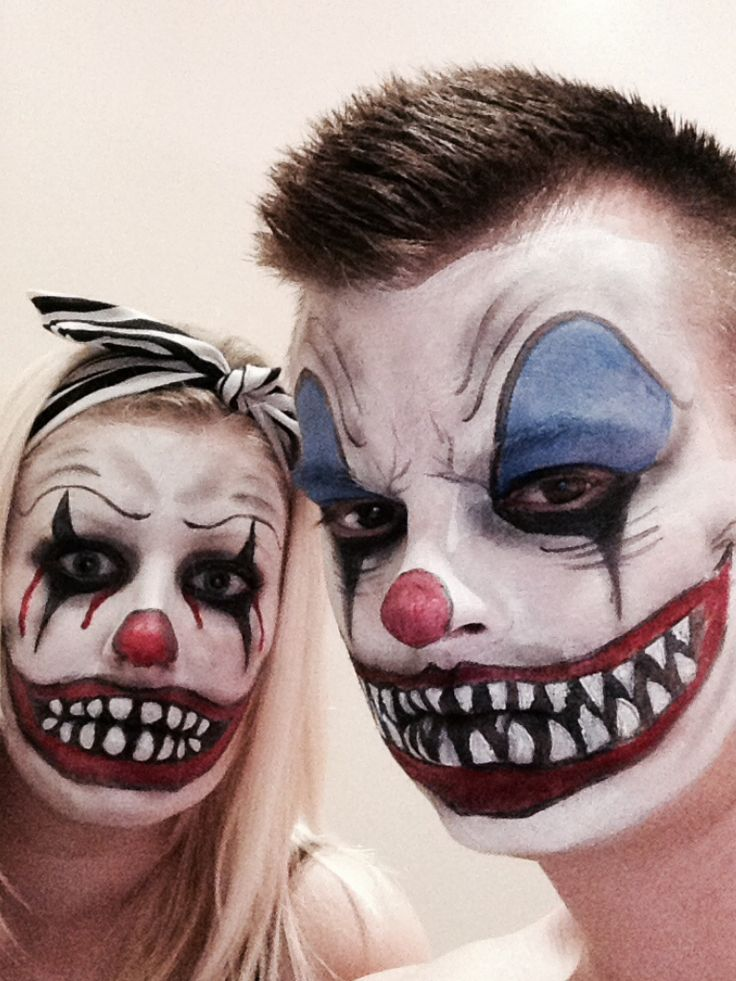 couple scary clown face paint - Scary Faces For Halloween With Makeup
