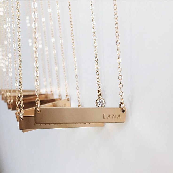 Gold Bar Necklaces one after another  Handmade Jewelry   Gold Bar Necklaces   Personalized Necklace   Gold Layering Necklaces   Custom Jewelry   #mymadebymary   @madebymarywithlove via Instagram