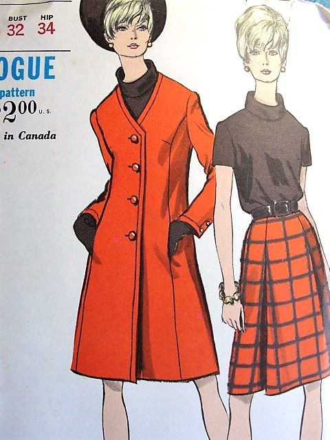 1960s MOD Coat, Skirt and Blouse Pattern VOGUE 7189 Fab Coat Design Casual Elegance Bust 32 Vintage Sewing Pattern UNCUT