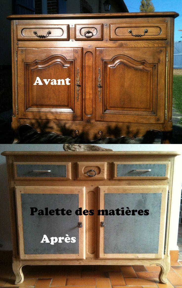 Buffet chêne massif / Zinc F. PIONNIER Palette des Matières