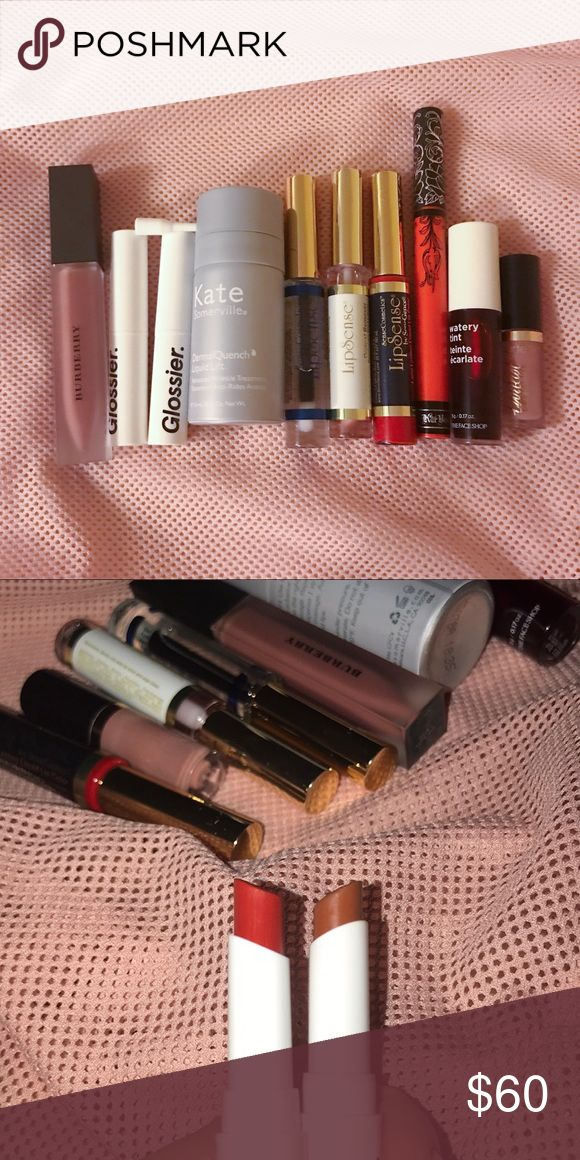 Burberry Glossier LipSense Lip beauty bundle All either swatched or used once and I decided that the color wasn't for me or the formula wasn't what I was looking for. All purchased within the past few months. L-R: Burberry lip velvet Fawn No. 5 sells for $34, Glossier Generation G I'm Zip and Leo $18 each, Kate Somerville Dermalquench liquid lift (face), Lipsense starter kit gloss, Blu Red, remover $50, Kay Von D Malice $20, the Face Shop red up lip tint,  Tarteist lip paint in Birthday…