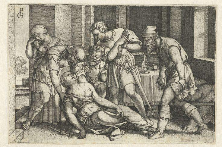 Georg Pencz   Collatinus en Brutus bij de stervende Lucretia, Georg Pencz, 1546 - 1547   Brutus ondersteunt de stervende Lucretia nadat zij zichzelf in de borst heeft gestoken. Haar echtgenoot Collatinus buigt zich met gevouwen handen naar haar toe en haar vader knielt in wanhoop naast haar. Een vrouwelijke bediende veegt tranen van haar gezicht.