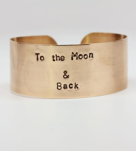 To The Moon Hand Stamped Cuff Bracelet