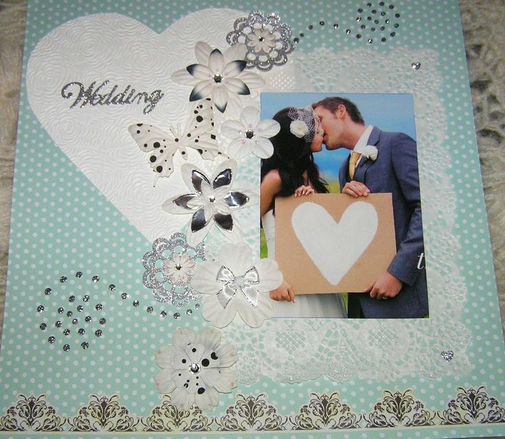 """SCRAPBOOK PAGE HANDMADE 12 X 12....""""WEDDING""""...reduced to $9.99"""