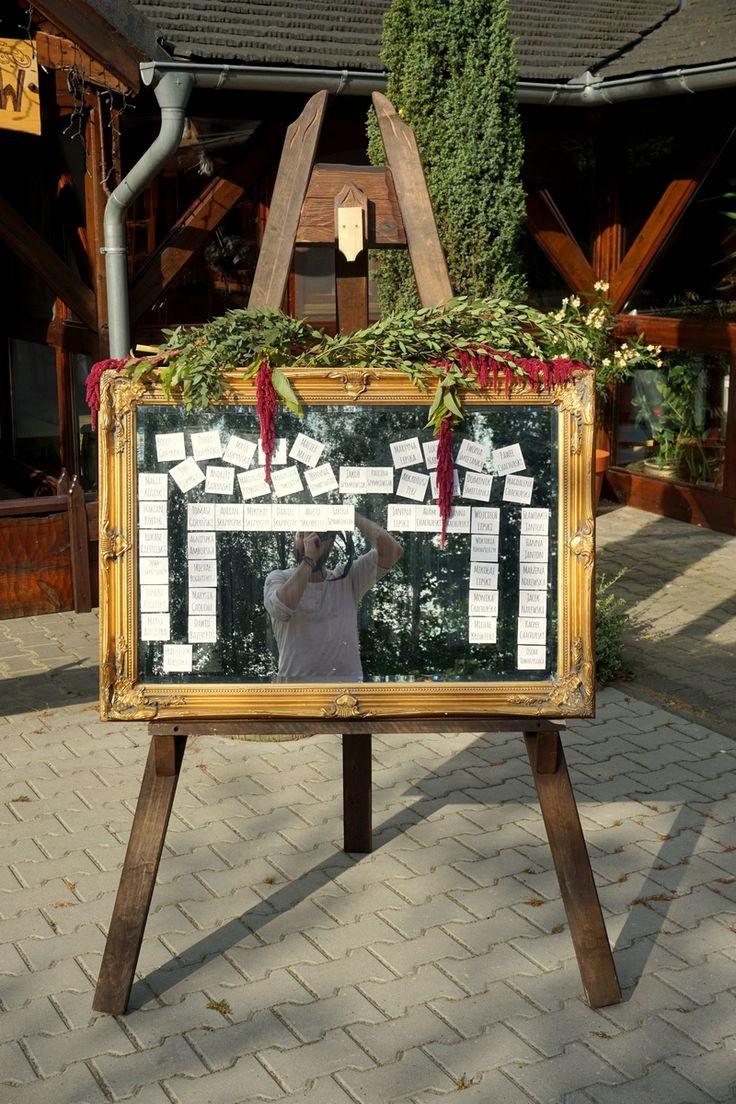 Tablica z rozsadzeniem gości. #wedding #table #guess #idea #rustic #mirror