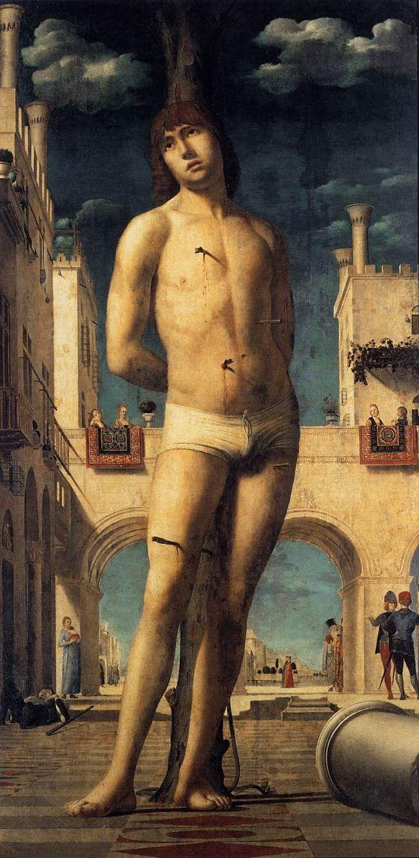 ANTONELLO da Messina St Sebastian 1476-77 Oil on canvas transferred from panel, 171 x 85,5 cm Gemäldegalerie, Dresden