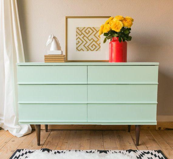Mint Green painted mid century modern dresser by VintageFreshShop