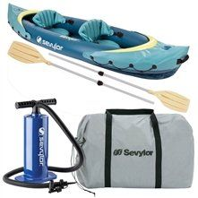 Coleman Clear Creek(TM) 2-Person Kayak Combo  $ 250.28      26-gauge PVC construction is rugged for lake use     Multiple air chambers allow another chamber to stay inflated if one is punctured     Airtight® System is guaranteed not to leak     Double Lock(TM) valves use two locking points for easy inflation/deflation     Spray covers block splashes to help keep you dry     Adjustable seats move to fit you     Carry handles make it easy to carry in and out of the water     Fits two people…