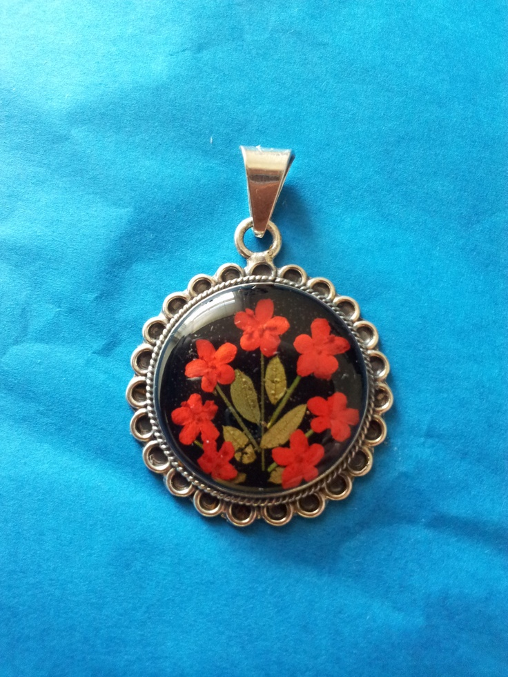 Red flowers locket, mexican locket, colonial jewelry, sterling silver