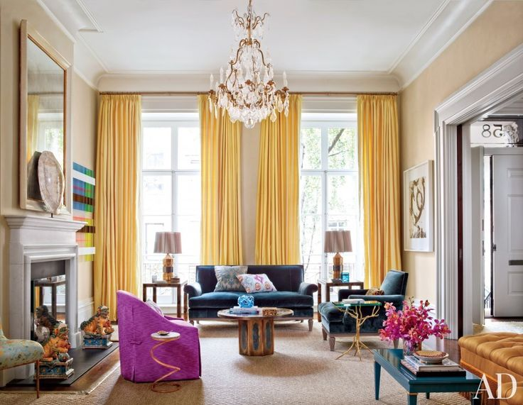 via Architectual Digest We love the look of this playful, yet sophisticated living room in NYC, here's our take on how you can get this look, you can even shop