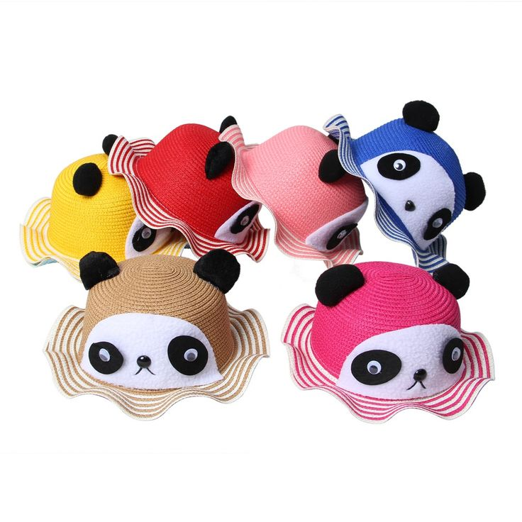Lovely Panda Design Children Straw Hat Multi-color Striped Brim Kids Sun Beach Cap