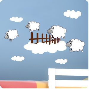 Childrens Bedroom Counting Sheep Wall Stickers -Vinyl Baby Art Decal Home Decor
