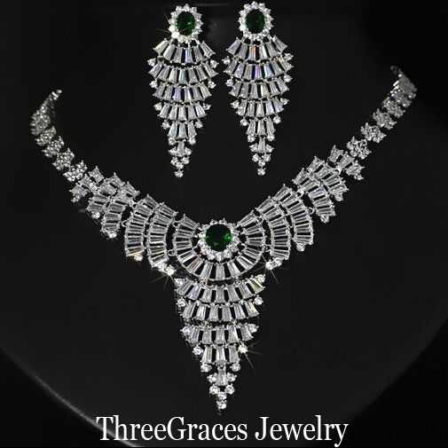 ThreeGraces Luxury Cubic Zircon Wedding Costume Jewelry Dark Green Crystal Long Bridal Tassel Earrings And Necklaces Sets JS034