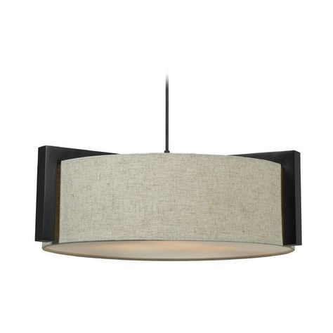 """Dimensions: 22""""w x 7""""h $178 180W Kenroy Home Lighting Drum Pendant Light with Beige / Cream Shade in Madera Bronze Finish 