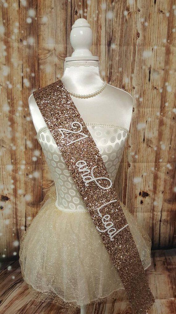 21st Birthday Sash  Glitter Sash  Personalised Sash  by NoraKatie