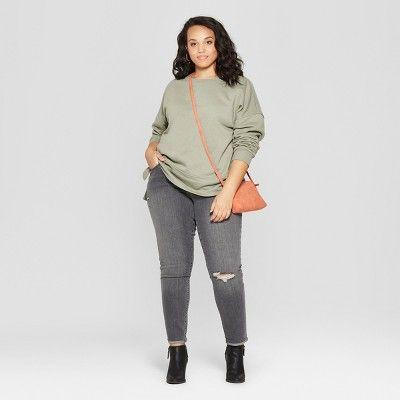 269757db693 Women's Plus Size Tunic Long Sleeve Sweatshirt - Universal Thread Olive  (Green) X
