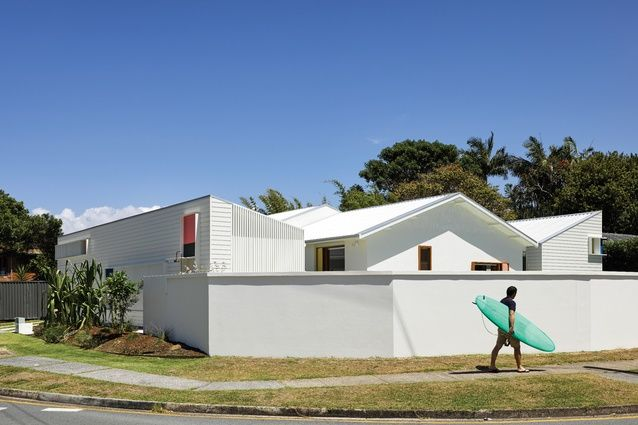 Beachy graphics: Burleigh Street House. The two new pavilions, one each to the north and south of the site, mirror the existing home's gabled roof form.
