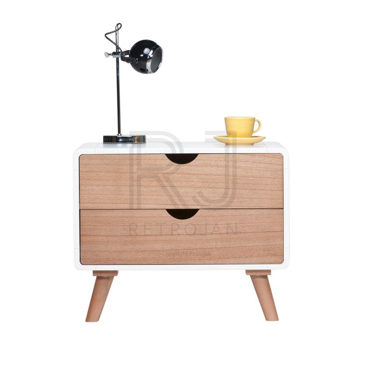 Felix Scandinavian Style Bedside Table - Natural/Warm White | $229.00