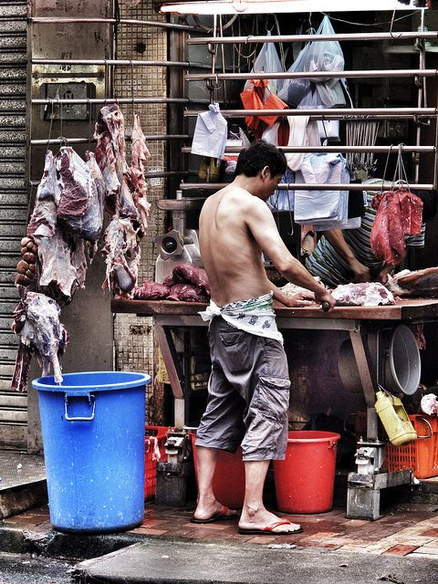 Butcher in Hong Kong, China