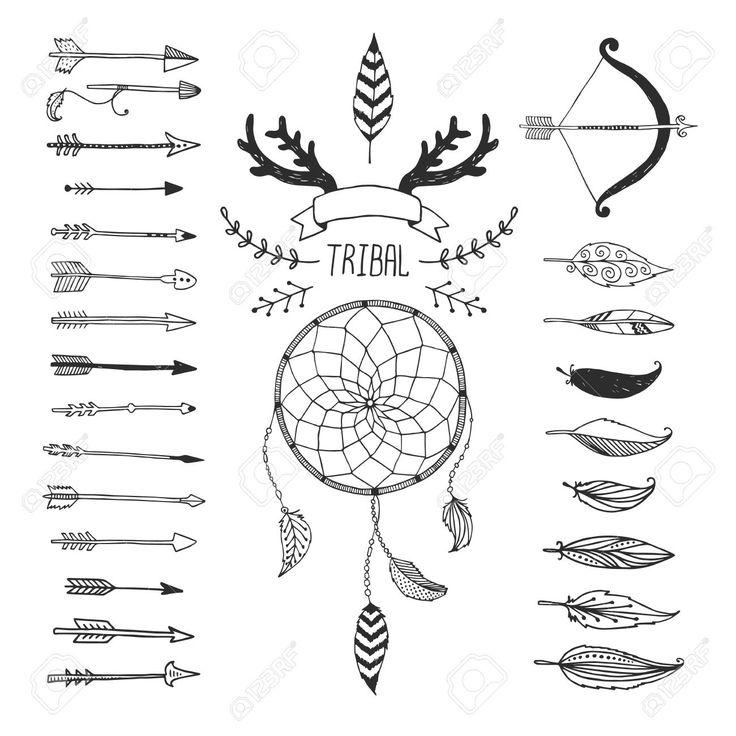37243225-Vektor-Tribal-Design-Elemente-aztekische-Symbole-Pfeile-Traumf-nger-Blumen-Band-H-rner-amerikanische-Stockfoto.jpg (1300×1300)