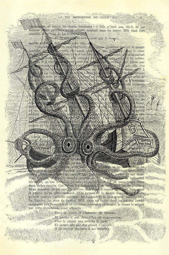Reuzeninktvis met boot zwart wit illustratie van zeemonster