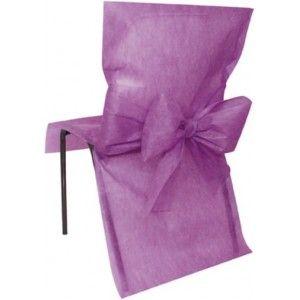 Housse de chaise intissé prune avec noeuds intissé prune, déco de chaises, baptême, baby shower, fêtes, mariage. http://www.baiskadreams.com/1326-housses-de-chaise-prune-intisse-avec-noeuds-les-10.html