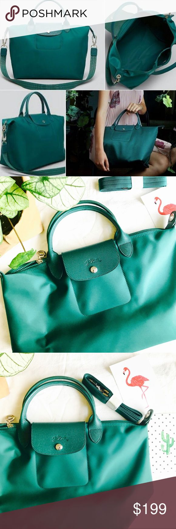 """Longchamp Le Pliage Neo in limited emerald color Brand new longchamp Le Pliage Neo tore in medium size // beautiful limited edition emerald color //          SIZE INFO 12 ½""""W x 11""""H x 6 ¾""""D. (Interior capacity: large.) 4"""" strap drop; 18"""" shoulder strap drop.   Lightly textured leather borders a sleek, classic tote that folds flat when not in use, making it perfect for travel. Longchamp Bags Totes"""