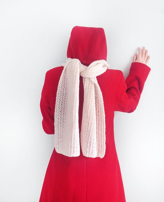 Hand knit white long scarf   Knit scarf Long scarf by GuruMIme