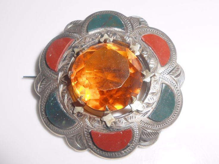 Antique Victorian Scottish Citrine Cairngorm Brooch