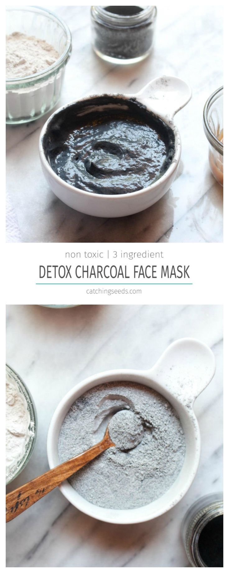 This easyDIY Detox Charcoal Face Mask offers all the benefits of the fancy store bought masks, at a fraction of the cost! Charcoal and clay will pull dirt and oil from your pores and leave you with soft clean skin and visibly smaller pores. | CatchngSeeds.com