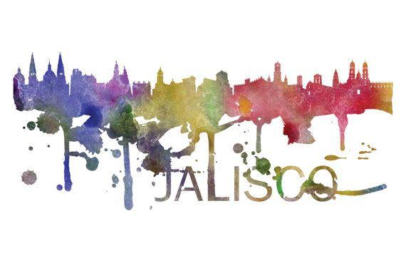 Jalisco Art, Jalisco Skyline, Jalisco map, Jalisco skyline, Jalisco map print  A beautiful Watercolor Art print of Jalisco, Mexico. Perfect