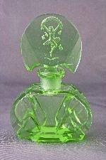 Czech Art Deco Intaglio Cut Perfume Bottle