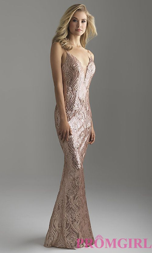 d0efc6cc7dbf Image of long rose gold sequin prom dress by Madison James. Style:  NM-18-624 Front Image