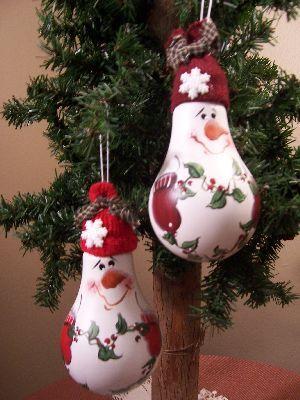 Lightbulb Snowmen | wood-n-stitches.com     Product Listing -