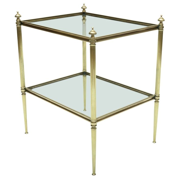 Mid-Century Modern French Maison Jansen Brass and Glass Side Table | From a unique collection of antique and modern side tables at https://www.1stdibs.com/furniture/tables/side-tables/