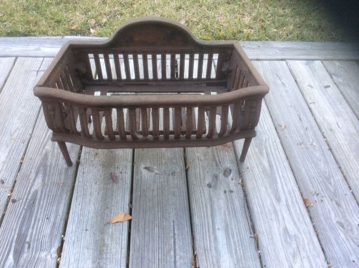 Antique Cast Iron Fireplace Grate Coal Box Basket Wood Log Holder Insert 195-20