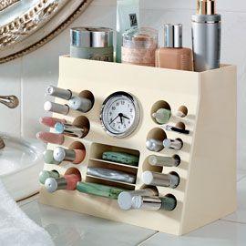 makeup storage: Make Up, Makeup Storage, Beautiful, Vanities, Makeup Bags, Makeup Organizations, Clocks, Storage Ideas, Cosmetics Organizations
