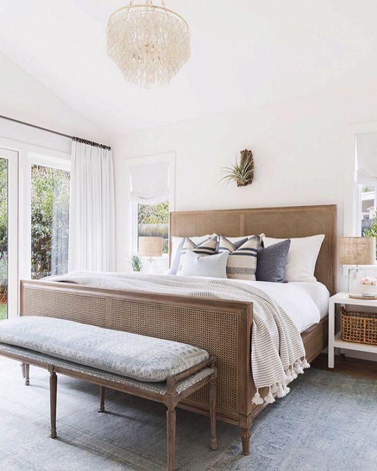 I love the subtle tones in this bedroom by @amandabarnesinteriors The faded blues combined with bright white and warm textural wood is spot on. Yep. 👏🏼 Got it going on. Want it to be our next redo? Vote now by liking this pic! 📷 by @alyssarosenheck