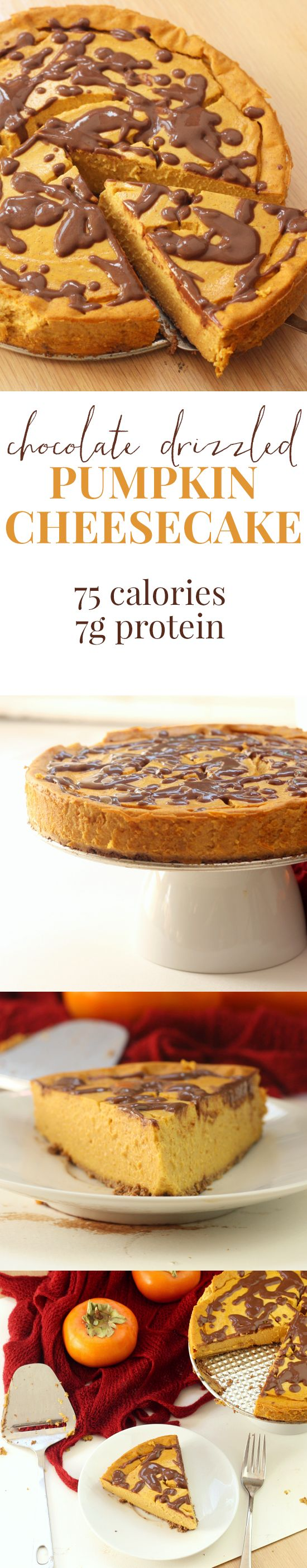 THIS RECIPE IS A MIRACLE. Pumpkin cheesecake drizzled with chocolate. 75 calories a slice, 600 for the whole cake.