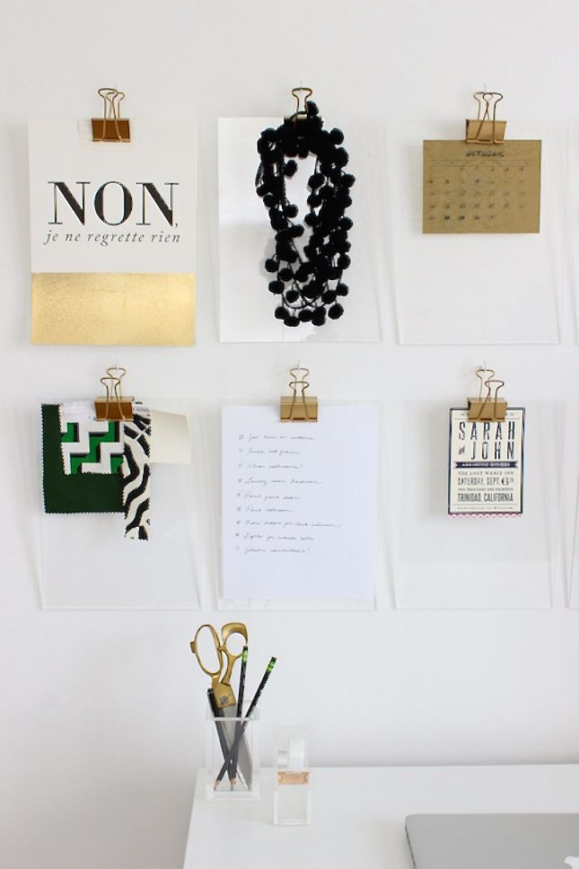 Use gold binder clips to hang papers and notes.