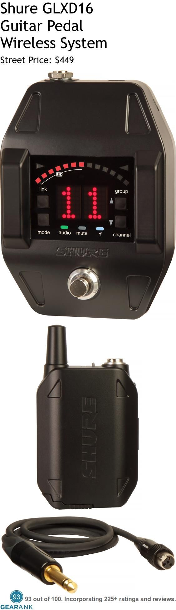 Shure GLXD16 Guitar Pedal Wireless System. Of the many wireless systems for guitars, Shure's GLXD series has the highest ratings. The pedal shaped wireless receiver operates in the 2.4GHz frequency band and allows for up to 8 compatible systems simultaneously.  For a guide to The Best Wireless Guitar Systems see https://www.gearank.com/guides/guitar-wireless-systems