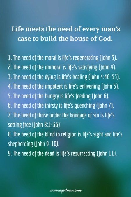 The need of the moral is life's regenerating (John 3:3, 6, 14-16, 29-30, 34). The need of the immoral is life's satisfying (John 4:4-7, 10, 13-18, 24, 28-29, 34). The need of the dying is life's healing (John 4:46-47, 50-53). The need of the impotent is life's enlivening (John 5:2-3, 5-9, 17, 19, 25-26, 30, 39-40). The need of the hungry is life's feeding (John 6:5-13, 32-33, 35, 48-51, 57, 63). The need of the thirsty is life's quenching (John 7:37-39). The need of those under the bondage…