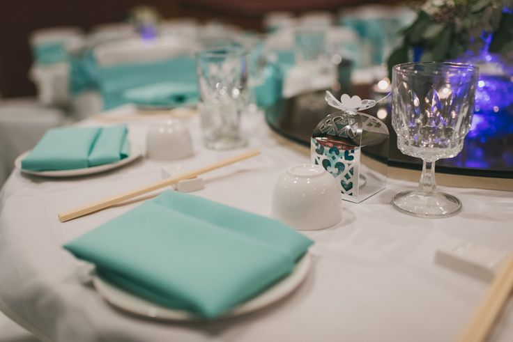 Table set up at the Royal Garden Restaurant. Lines from The Wedding Linen Company