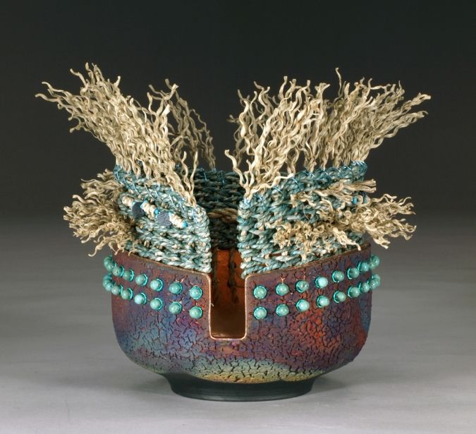 Marc Jenesel - raku fired clay with copper wire/mesh, fiber weaving, beading