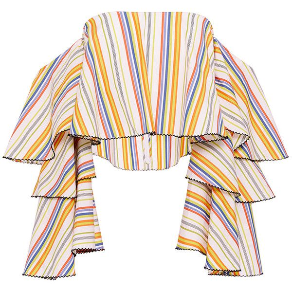 Caroline Constas Carmen Striped Ruffle Sleeve Crop Top ($460) ❤ liked on Polyvore featuring tops, stripe crop top, cropped tops, flutter sleeve top, tiered top and pink crop top