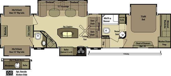 2 bedroom fifth wheel floorplans google search camper floor plans pinterest open range for Two bedroom travel trailers for sale