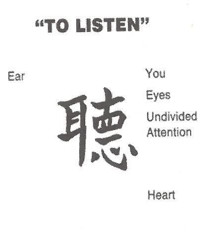 """The Chinese character for """"listening attentively"""" consists of five characters: - the character for ear - for standing still - for ten - for eye, and - for heart and mind. Chinese characters are really picturegrams: they are pictures that have evolved to describe a certain situation. Therefore, listening attentively means: """"When in stillness, one listens with the heart. The ear is worth ten eyes."""" -- Zen Master Dae Gak, """"The Practice of Listening"""""""
