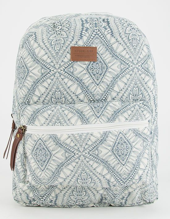 "Blue and white backpack print carousel    Rip Curl Mayan Sun washed canvas backpack. Allover print with faux leather patch on front. Front zip pocket. Zip main compartment. Adjustable padded shoulder straps. Approx dimensions: 16.5""H x 12.5""W x 5""D. Imported."