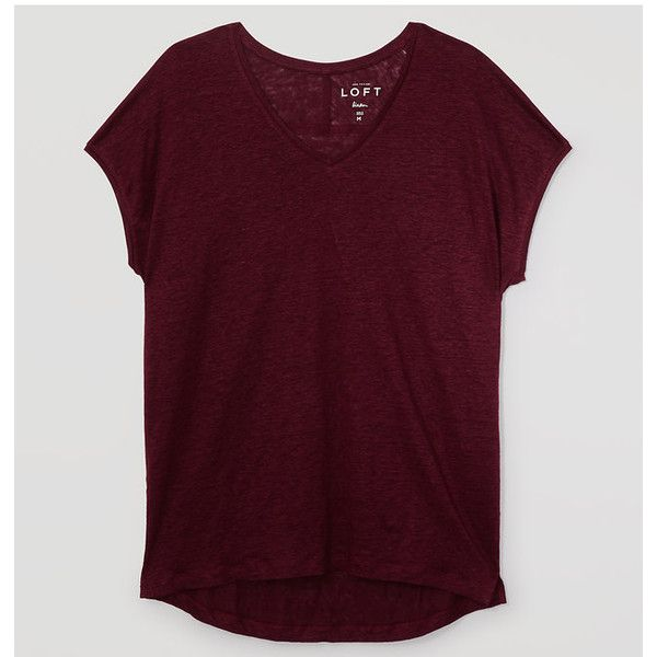 LOFT Petite Slouchy Linen Tee ($35) ❤ liked on Polyvore featuring tops, t-shirts, fresh plum wine, slouchy v neck tee, v neck t shirts, slouchy tee, v neck tee and short sleeve tee