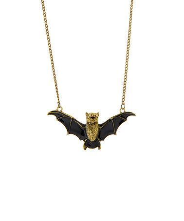 Black & Goldtone Rhinestone Bat Necklace #zulily #zulilyfinds